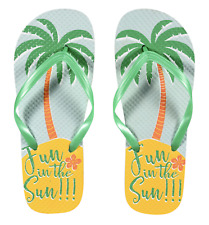 "Women's Tropical Print ""Fun In The Sun"" Rubber Flip Flops Size L (9/10) F1 520"