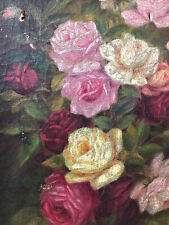Charming Antique Victorian Oil Painting Flowers Roses Rose Gold Frame