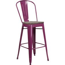 "Flash Furniture 30"" Purple Metal Barstool w/Back - ET-3534-30-PUR-WD-GG"