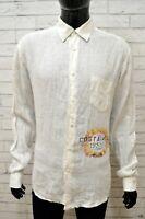 Camicia in Lino Uomo MASON'S Taglia XXL Maglia Shirt Man Manica Lunga Bianco