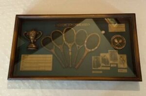 The History Of The Tennis Racket Shadow Box Antique Display Case