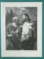 BIBLE CHRIST to Judas Betrayed Son of Man by Kiss - 1892 Victorian Era Print