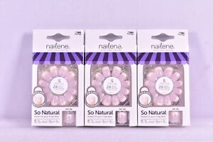 LOT OF 3 Nailene So Natural, Pink Pearl french Finish, Short False Nails