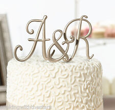 3 piece Gold Monogram Wedding Cake Topper Initials by Lillian Rose NEW