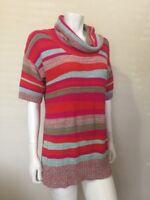 Design 365 Hot Pink Multicolor Striped Cowl Neck Short Sleeve Sweater Sz L
