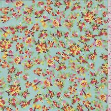 Seafoam Blue Floral Print Chiffon Fabric by The Yard