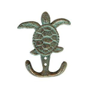 Nautical Key Robe Verdigris Sea Turtle Double Wall Hook Tropical Beach House