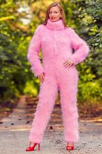Hand knitted pink fuzzy mohair catsuit sweater handmade SUPERTANYA bodysuit SALE