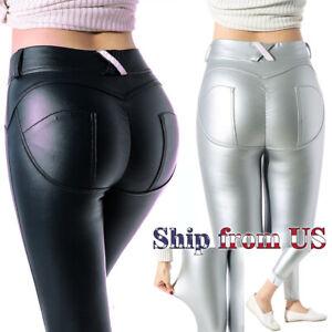 Women Faux PU Leather Leggings Butt Lift Skinny Pants Trousers Stretch Plus Size