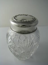 STERLING SILVER & CUT CRYSTAL POWDER JAR SILVER LID GINGER JAR by Whiting ca1893