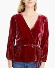 J.Crew Women's Faux Wrap Top Drapey Velvet Tie Waist Blouse Burgundy Size 12 NWT