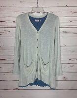 LOGO Lori Goldstein QVC Women's XXS Blue Tank & Striped Knit Spring Cardigan Set