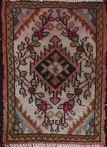 Vintage Geometric Oriental Traditional Area Rug Hand-knotted Wool Carpet 1x2 ft