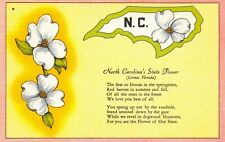 Linen c1930-45 USA Postcard North Carolina's State Flower, Dogwood Blossom 60Y