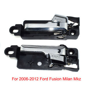 2x Chrome Interior Door Handle Rear Left &Right For 06-12 Ford Fusion Milan Mkz