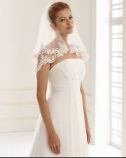 Velo de novia de encaje marfil, filo 2 niveles hecho en la UE