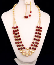 MOTHERS DAY GIFT SALE CHARMING 3 STRANDS GARNET BEADED AND PEARL NECKLACE SET