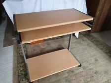 Metal Frame Computer Desk Wood Laminate Tops Slide Out Key Board Printer Shelf