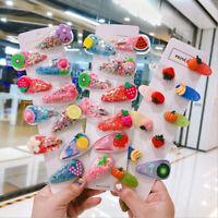 5pc Kids Hair Accessories Headwear  Glitter Fruit Hairpins Cute Hairclips G Px