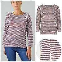 M&S Marks and Spencer Burgundy White Boat Neck Stripe Top Raglan Sleeve