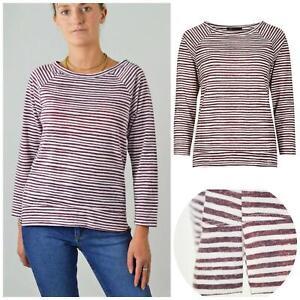 M&S Marks Spencer Burgundy White Stripe Plus Size Top Sweater Boat Neck 18 20 24