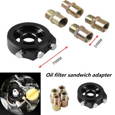1x Oil Filter Temp Pressure Cooler Gauge Sandwich Plate Adapter Sensor Universal