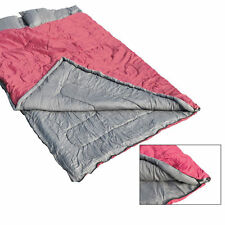 "86""x60"" 2 Person Double Sleeping Bag 23F/-5℃ Outdoor Camping Hiking w/2 Pillows"