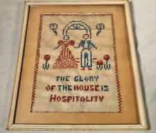 "Primitive Antique 12""X 14"" Cross Stitch Sampler ""The Glory Of The House."""