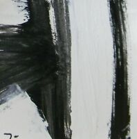 """JOSE TRUJILLO - Acrylic Painting 6x6"""" Black & White Expressionism ABSTRACT"""