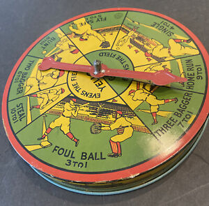 """EXCEPTIONAL VINTAGE BASEBALL SCARCE TIN CHIEN TOY 8"""" SPINNER GAME """"THREE BAGGER"""""""