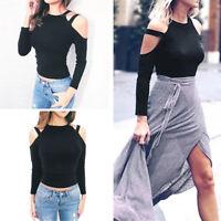 Women Sexy Off Shoulder Casual Long Sleeve Halter T-Shirt Blouse Crop Tops JCAU