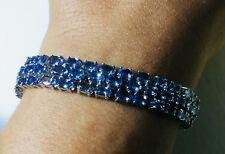 Tanzanite Tennis Bracelet 96 Oval Cut Stones, 22 CTW in Sterling Silver