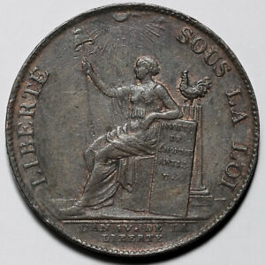 1792 FRANCE FRENCH REVOLUTION BRONZE 2 TWO SOLS COIN