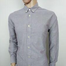 Henri Lloyd Mens Shirt Purple Chambray Oxford Long Sleeve Sz L 16.5 RRP£75
