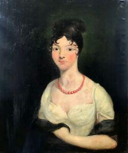Original C18th Antique Oil Painting Portrait Mistress of Jamaica Chief Justice