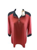 NEW Sport Haley Women's Pink/Gray Breathable 1/4 Zip 3/4 Sleeve Shirt L