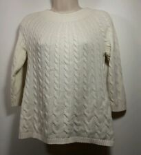Talbots Sweater Womens Petite Cable Knit Ivory 3/4 Sleeve