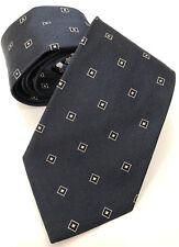 PAUL SMITH Corbata Azul Marino con negro y Plata Cuadros 9cm blade100 % SEDA