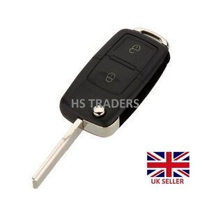 2 Button Uncut fob Flip Blank Remote Key Case for VW BORA GOLF MK4 + Logo #A41**