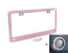 Bling Pink Crystal Diamond METAL License Plate Frame+Pink ring emblem+caps