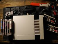 NES Console Bundle! Cords, 2 Controllers, Zapper & 5 Games!! Cleaned/Tested