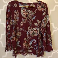 CHICOS Red Burgundy Paisley Floral Top Stretch Size 2 (Large) Bell Sleeve