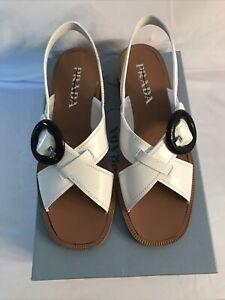 White Leather Prada Sandals