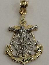 SMALL 1.26 inch long Religious 14k yellow Gold Jesus Anchor Diamond Cut Pendant