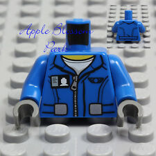 NEW Lego Minifig BLUE JACKET TORSO w/White T-Shirt Top ID Badge Boy Zipper Coat