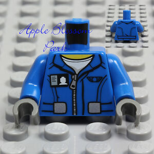 NEW Lego Minifig BLUE JACKET TORSO w/White T-Shirt Top ID Badge Boy Zipper Coat