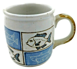 Fish Mug Cup Blue Fisherman Fishing Speckled Cave Drawing Stick Figure Pottery