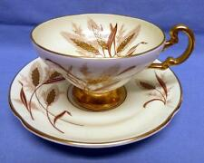OLD ROYAL Cup&Saucer Bone China Gold Accents Gold Raised Wheat Pattern Very Rare