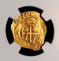 """COLOMBIA 1699 """"DATED!"""" 2 ESCUDOS """"1715 FLEET"""" NGC 63 GOLD COB DOUBLOON TREASURE"""