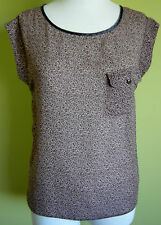 Ladies Animal Print Chiffon Round Neck Cap Sleeve Blouse Top Jeanswest Size 8